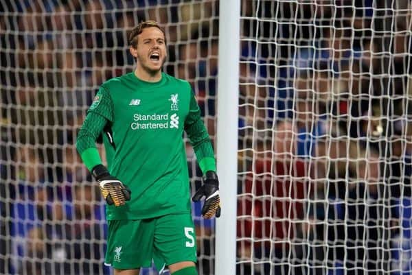 LEICESTER, ENGLAND - Tuesday, September 19, 2017: Liverpool's goalkeeper Danny Ward during the Football League Cup 3rd Round match between Leicester City and Liverpool at the King Power Stadium. (Pic by David Rawcliffe/Propaganda)