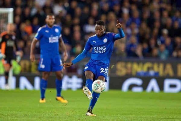 Leicester City's Wilfred Ndidi during the Football League Cup 3rd Round match between Leicester City and Liverpool at the King Power Stadium. (Pic by David Rawcliffe/Propaganda)
