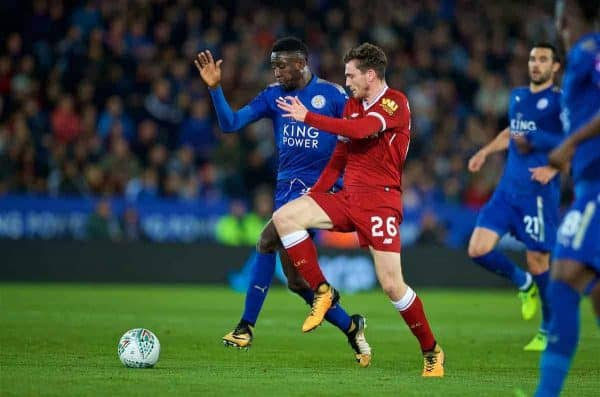 LEICESTER, ENGLAND - Tuesday, September 19, 2017: Liverpool's Andy Robertson and Leicester City's Wilfred Ndidi during the Football League Cup 3rd Round match between Leicester City and Liverpool at the King Power Stadium. (Pic by David Rawcliffe/Propaganda)