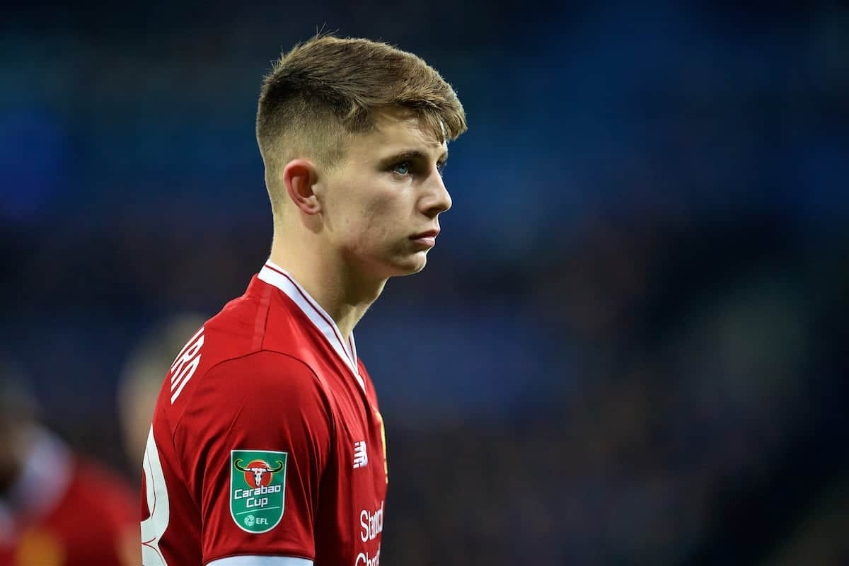 LEICESTER, ENGLAND - Tuesday, September 19, 2017: Liverpool's Ben Woodburn during the Football League Cup 3rd Round match between Leicester City and Liverpool at the King Power Stadium. (Pic by David Rawcliffe/Propaganda)