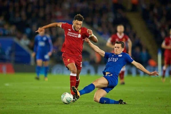 Liverpool's Alex Oxlade-Chamberlain and Leicester City's Ben Chilwell during the Football League Cup 3rd Round match between Leicester City and Liverpool at the King Power Stadium. (Pic by David Rawcliffe/Propaganda)