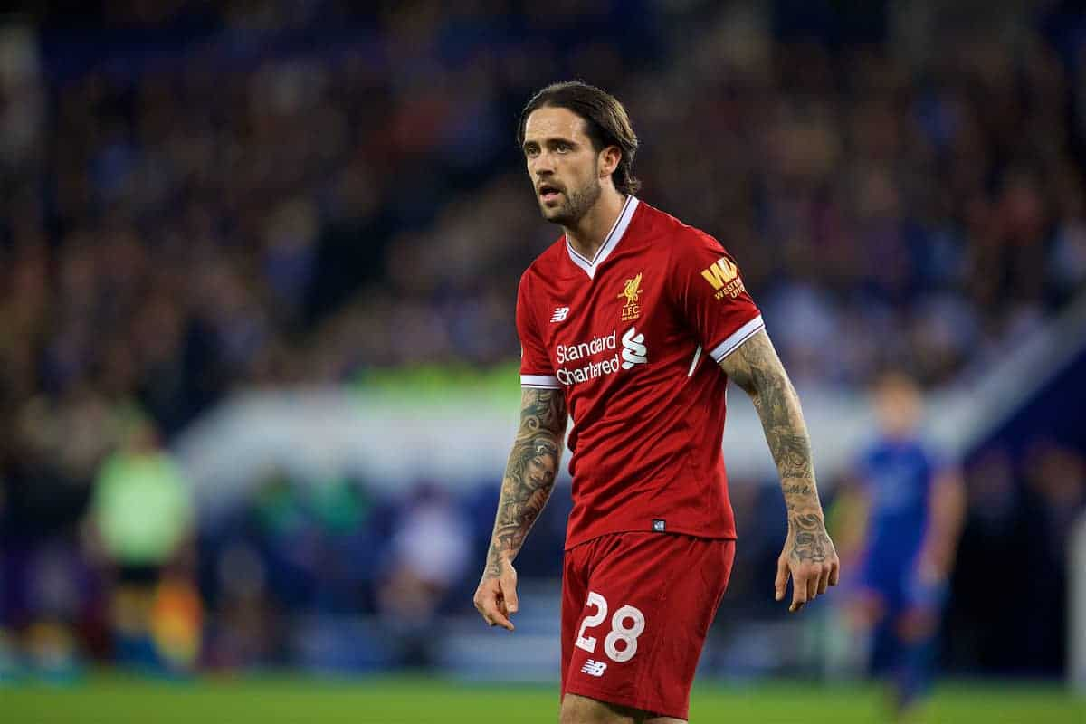 LEICESTER, ENGLAND - Tuesday, September 19, 2017: Liverpool's Danny Ings during the Football League Cup 3rd Round match between Leicester City and Liverpool at the King Power Stadium. (Pic by David Rawcliffe/Propaganda)