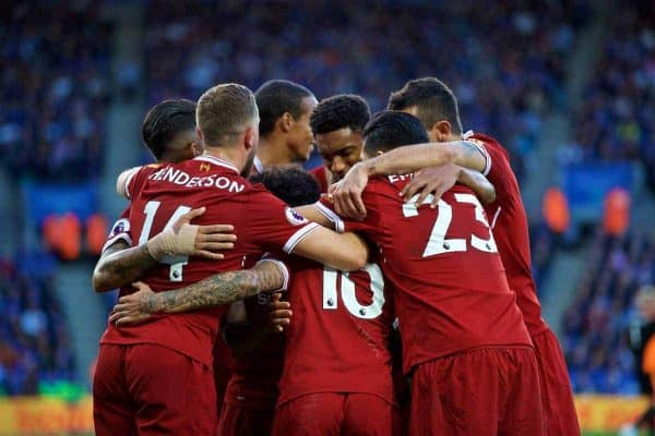 LEICESTER, ENGLAND - Saturday, September 23, 2017: Liverpool's Philippe Coutinho Correia celebrates scoring the second goal with team-mates during the FA Premier League match between Leicester City and Liverpool at the King Power Stadium. (Pic by David Rawcliffe/Propaganda)