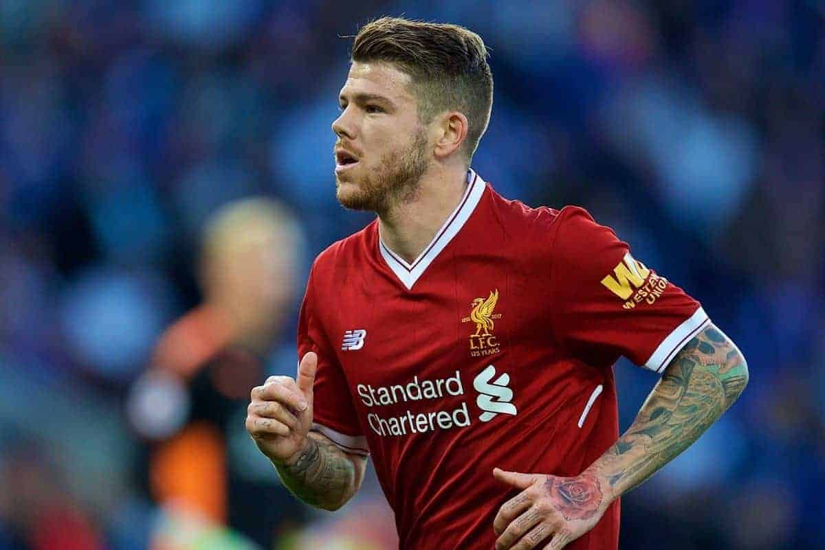 LEICESTER, ENGLAND - Saturday, September 23, 2017: Liverpool's Alberto Moreno during the FA Premier League match between Leicester City and Liverpool at the King Power Stadium. (Pic by David Rawcliffe/Propaganda)