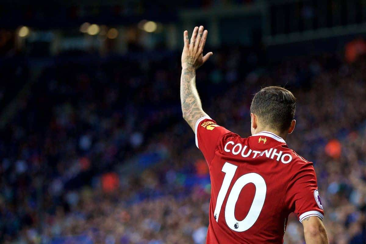 LEICESTER, ENGLAND - Saturday, September 23, 2017: Liverpool's Philippe Coutinho Correia during the FA Premier League match between Leicester City and Liverpool at the King Power Stadium. (Pic by David Rawcliffe/Propaganda)