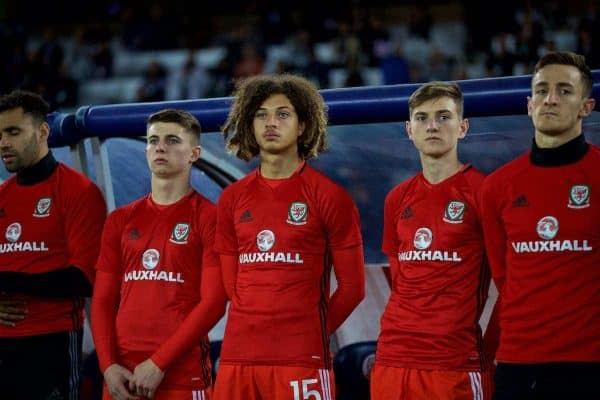 TBILSI, GEORGIA - Friday, October 6, 2017: Wales substitutes before the 2018 FIFA World Cup Qualifying Group D match between Georgia and Wales at the Boris Paichadze Dinamo Arena. Ben Woodburn, Ethan Ampadu, David Brooks. (Pic by David Rawcliffe/Propaganda)