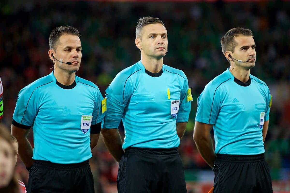 CARDIFF, WALES - Monday, October 9, 2017: Referee Damir Skomina [C] and assistants Jure Praprotnik and Robert Vukan before the 2018 FIFA World Cup Qualifying Group D match between Wales and Republic of Ireland at the Cardiff City Stadium. (Pic by David Rawcliffe/Propaganda)