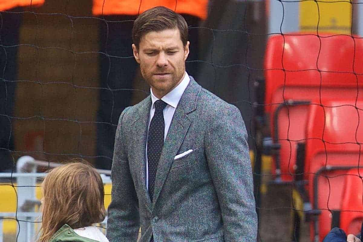 LIVERPOOL, ENGLAND - Saturday, October 14, 2017: Former Liverpool player Xabi Alonso arrives at Anfield ahead of the FA Premier League match between Liverpool and Manchester United at Anfield. (Pic by David Rawcliffe/Propaganda)