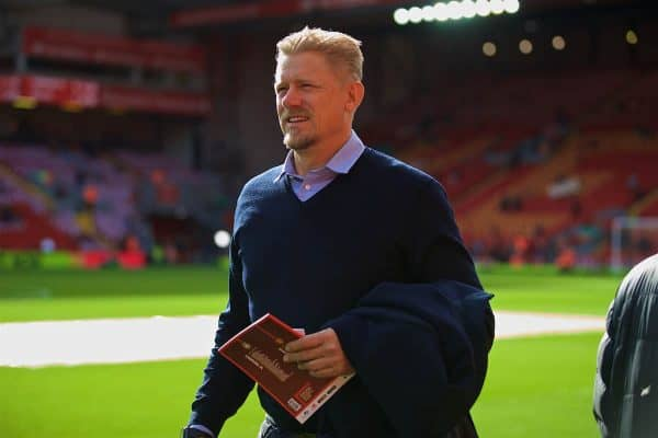 LIVERPOOL, ENGLAND - Saturday, October 14, 2017: Former Manchester United player Peter Schmeichel before the FA Premier League match between Liverpool and Manchester United at Anfield. (Pic by David Rawcliffe/Propaganda)