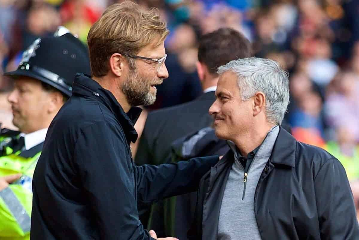 LIVERPOOL, ENGLAND - Saturday, October 14, 2017: Liverpool's manager J¸rgen Klopp and Manchester United's manager Jose Mourinho before the FA Premier League match between Liverpool and Manchester United at Anfield. (Pic by David Rawcliffe/Propaganda)