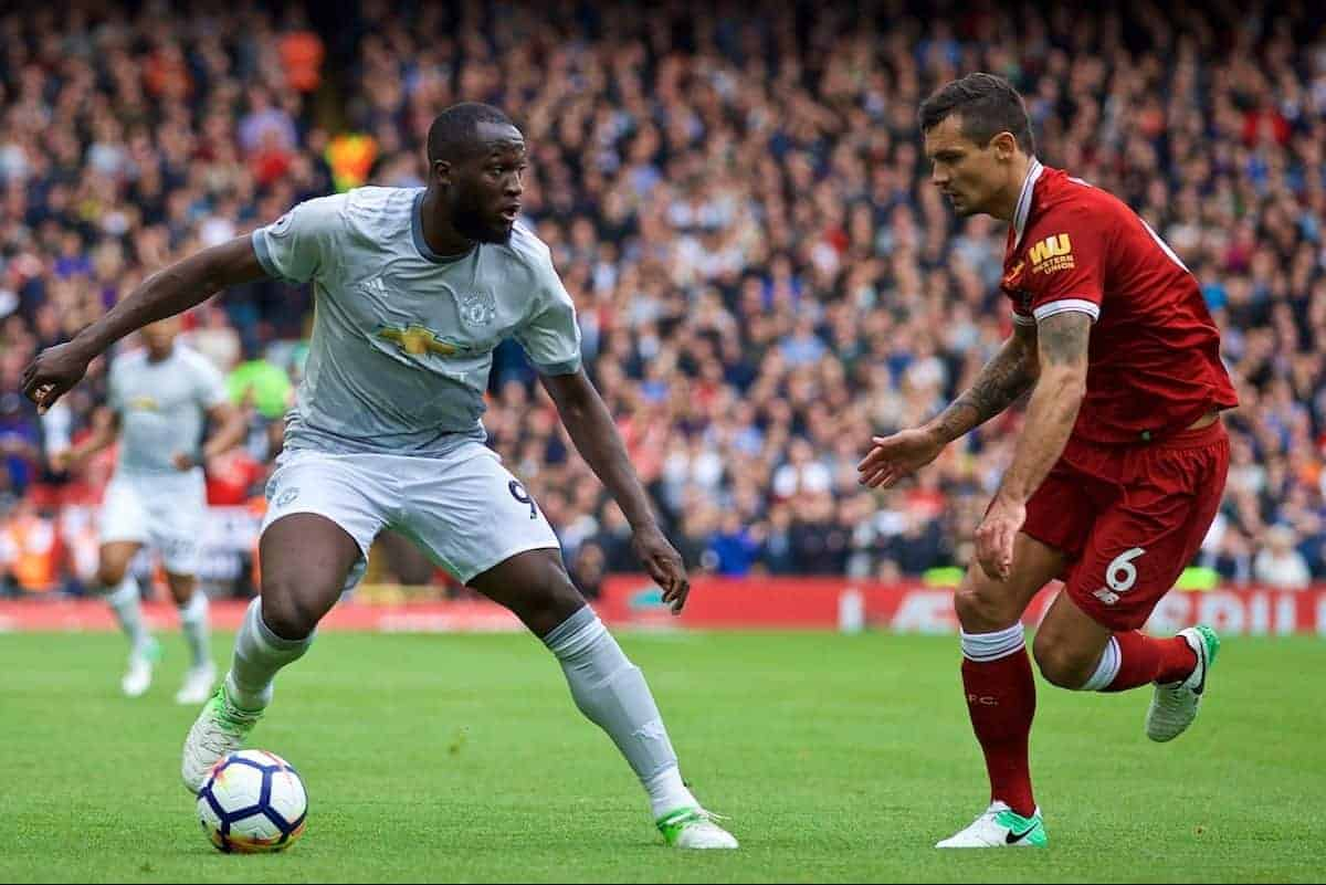 Manchester United's Romelu Lukaku during the FA Premier League match between Liverpool and Manchester United at Anfield