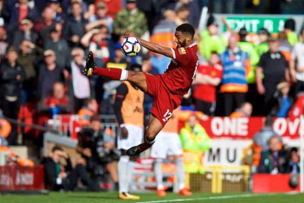 LIVERPOOL, ENGLAND - Saturday, October 14, 2017: Liverpool's Joe Gomez during the FA Premier League match between Liverpool and Manchester United at Anfield. (Pic by David Rawcliffe/Propaganda)