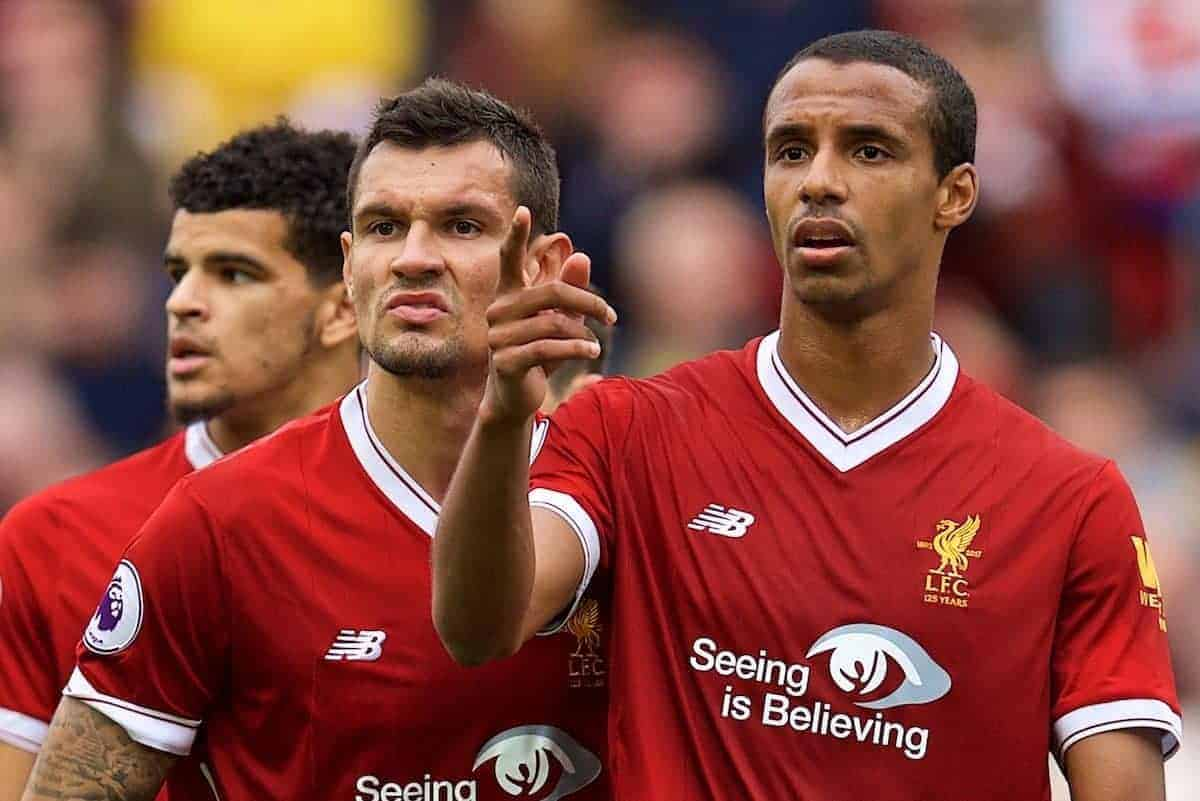 LIVERPOOL, ENGLAND - Saturday, October 14, 2017: Liverpool's Dejan Lovren and Joel Matip during the FA Premier League match between Liverpool and Manchester United at Anfield. (Pic by David Rawcliffe/Propaganda)