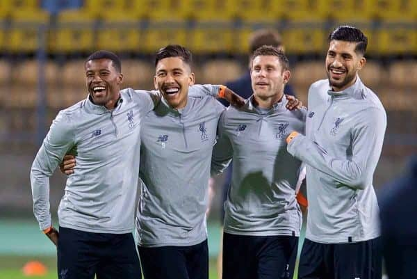 MARIBOR, SLOVENIA - Monday, October 16, 2017: Liverpool's Georginio Wijnaldum, Roberto Firmino, James Milner and Emre Can during a training session ahead of the UEFA Champions League Group E match between NK Maribor and Liverpool at the Stadion Ljudski vrt. (Pic by David Rawcliffe/Propaganda)