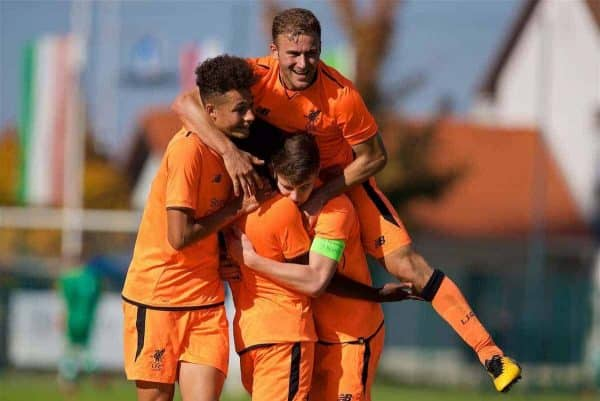 LENDAVA, SLOVENIA - Tuesday, October 17, 2017: Liverpool's Bobby Adekanye [centre] celebrates scoring the fourth goal with team-mates Curtis Jones, Herbie Kane and captain Ben Woodburn during the UEFA Youth League Group E match between NK Maribor and Liverpool at äportni Park. (Pic by David Rawcliffe/Propaganda)