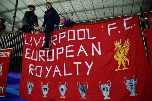 "MARIBOR, SLOVENIA - Tuesday, October 17, 2017: Liverpool supporters' banner ""Liverpool FC European Royalty"" during the UEFA Champions League Group E match between NK Maribor and Liverpool at the Stadion Ljudski vrt. (Pic by David Rawcliffe/Propaganda)"