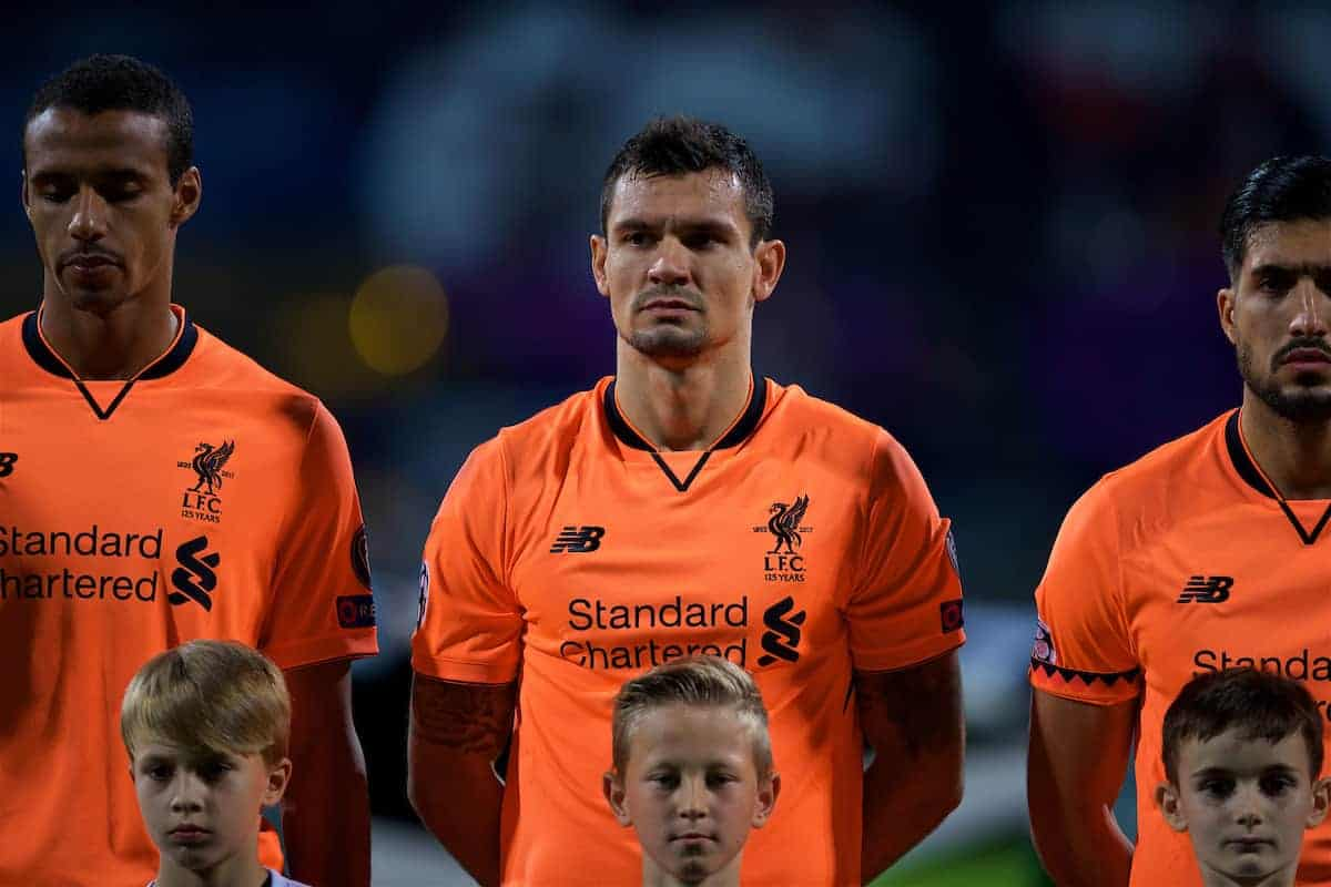 MARIBOR, SLOVENIA - Tuesday, October 17, 2017: Liverpool's Dejan Lovren lines-up before the UEFA Champions League Group E match between NK Maribor and Liverpool at the Stadion Ljudski vrt. (Pic by David Rawcliffe/Propaganda)