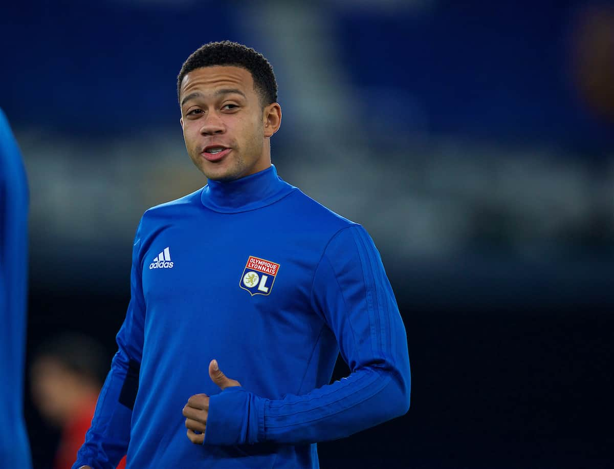 LIVERPOOL, ENGLAND - Wednesday, October 18, 2017: Olympique Lyonnais' Memphis Depay during a training session at Goodison Park ahead of the UEFA Europa League Group E match against Everton. (Pic by David Rawcliffe/Propaganda)
