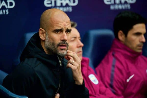 MANCHESTER, ENGLAND - Saturday, October 21, 2017: Manchester City's manager Pep Guardiola before the FA Premier League match between Manchester City and Burnley at the City of Manchester Stadium. (Pic by Peter Powell/Propaganda)