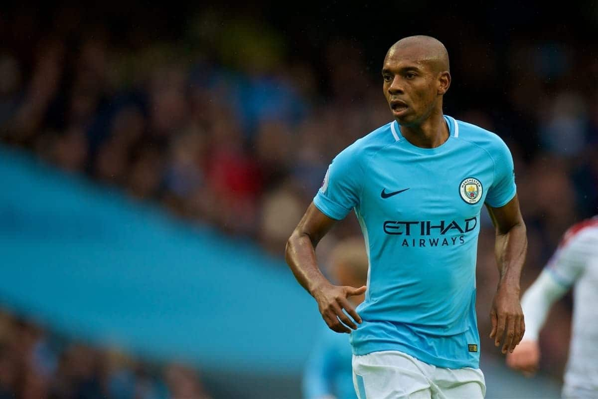 MANCHESTER, ENGLAND - Saturday, October 21, 2017: Manchester City's Fernando Luiz Roza 'Fernandinho' during the FA Premier League match between Manchester City and Burnley at the City of Manchester Stadium. (Pic by Peter Powell/Propaganda)