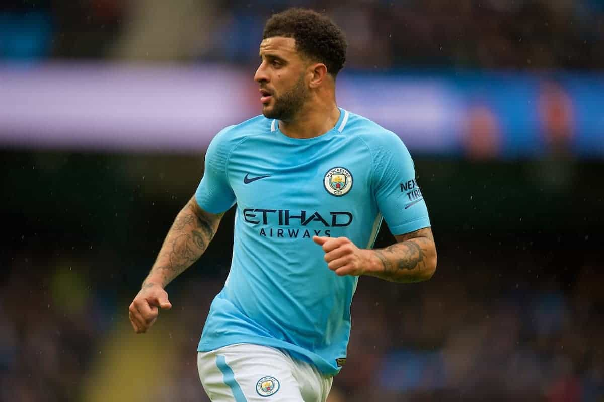 MANCHESTER, ENGLAND - Saturday, October 21, 2017: Manchester Cityís Kyle Walker in action during the FA Premier League match between Manchester City and Burnley at the City of Manchester Stadium. (Pic by Peter Powell/Propaganda)
