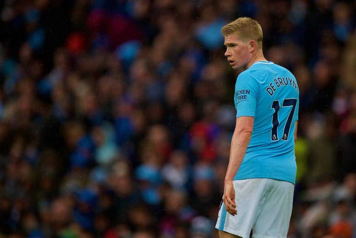 MANCHESTER, ENGLAND - Saturday, October 21, 2017: Manchester City's Kevin De Bruyne during the FA Premier League match between Manchester City and Burnley at the City of Manchester Stadium. (Pic by Peter Powell/Propaganda)