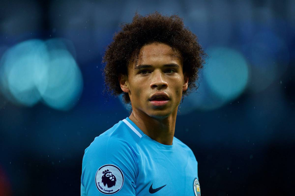 MANCHESTER, ENGLAND - Saturday, October 21, 2017: Manchester Cityís Leroy Sane during the FA Premier League match between Manchester City and Burnley at the City of Manchester Stadium. (Pic by Peter Powell/Propaganda)