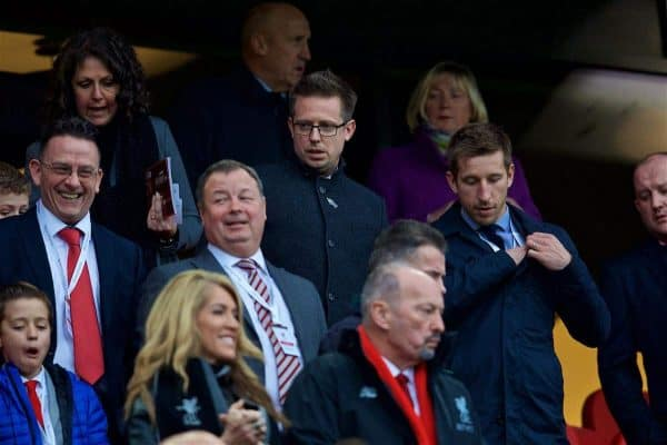 LIVERPOOL, ENGLAND - Saturday, October 28, 2017: Liverpool's Director of Football Michael Edwards during the FA Premier League match between Liverpool and Huddersfield Town at Anfield. (Pic by David Rawcliffe/Propaganda)