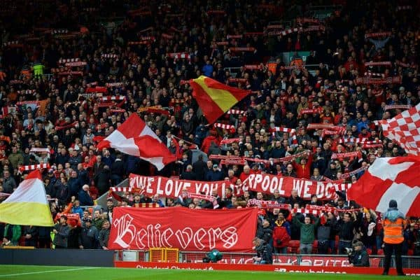 "LIVERPOOL, ENGLAND - Saturday, October 28, 2017: Liverpool supporters' banner ""Believers"" on the Spion Kop during the FA Premier League match between Liverpool and Huddersfield Town at Anfield. (Pic by David Rawcliffe/Propaganda)"