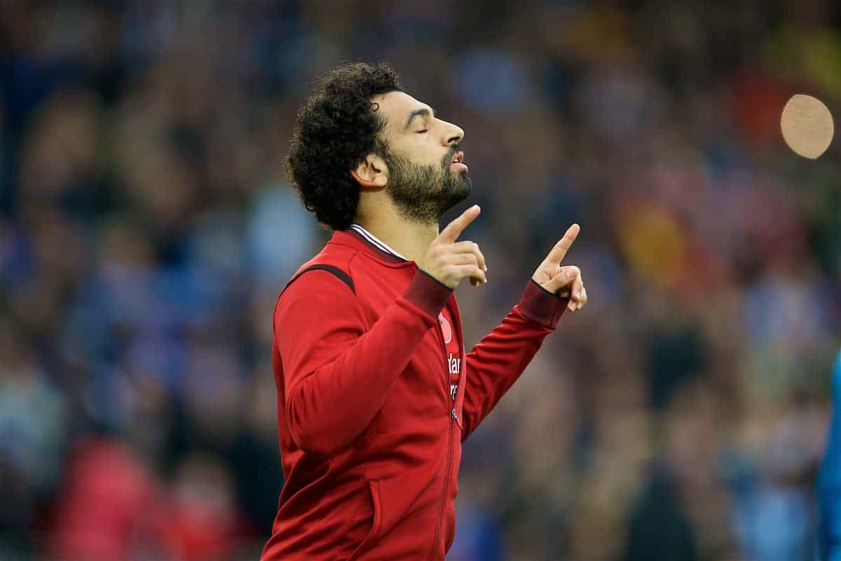 LIVERPOOL, ENGLAND - Saturday, October 28, 2017: Liverpool's Mohamed Salah prays before the FA Premier League match between Liverpool and Huddersfield Town at Anfield. (Pic by David Rawcliffe/Propaganda)