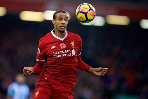 LIVERPOOL, ENGLAND - Saturday, October 28, 2017: Liverpool's Joel Matip during the FA Premier League match between Liverpool and Huddersfield Town at Anfield. (Pic by David Rawcliffe/Propaganda)