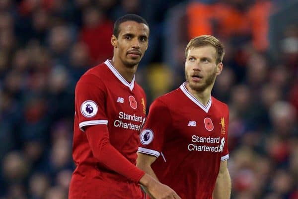 LIVERPOOL, ENGLAND - Saturday, October 28, 2017: Liverpool's Joel Matip and Ragnar Klavan during the FA Premier League match between Liverpool and Huddersfield Town at Anfield. (Pic by David Rawcliffe/Propaganda)