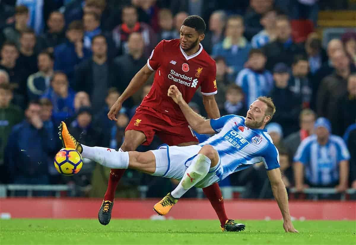 LIVERPOOL, ENGLAND - Saturday, October 28, 2017: Liverpool's Joe Gomez during the FA Premier League match between Liverpool and Huddersfield Town at Anfield. (Pic by David Rawcliffe/Propaganda)