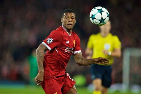 LIVERPOOL, ENGLAND - Wednesday, November 1, 2017: Liverpool's Georginio Wijnaldum during the UEFA Champions League Group E match between Liverpool FC and NK Maribor at Anfield. (Pic by David Rawcliffe/Propaganda)