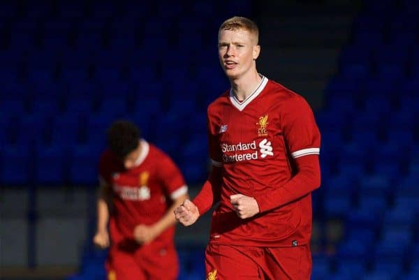 BIRKENHEAD, ENGLAND - Wednesday, November 1, 2017: Liverpool substitute Glen McAuley celebrates scoring the third goal during the UEFA Youth League Group E match between Liverpool and NK Maribor at Prenton Park. (Pic by David Rawcliffe/Propaganda)