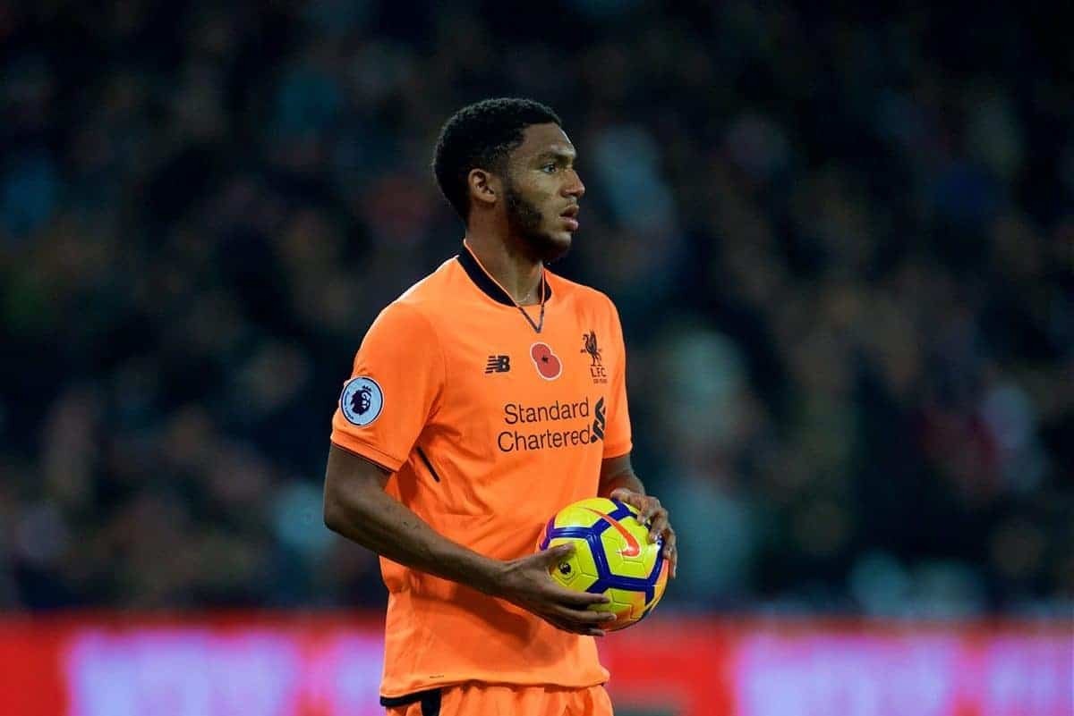 LONDON, ENGLAND - Saturday, November 4, 2017: Liverpool's Joe Gomez prepares to take a throw-in during the FA Premier League match between West Ham United FC and Liverpool FC at the London Stadium. (Pic by David Rawcliffe/Propaganda)