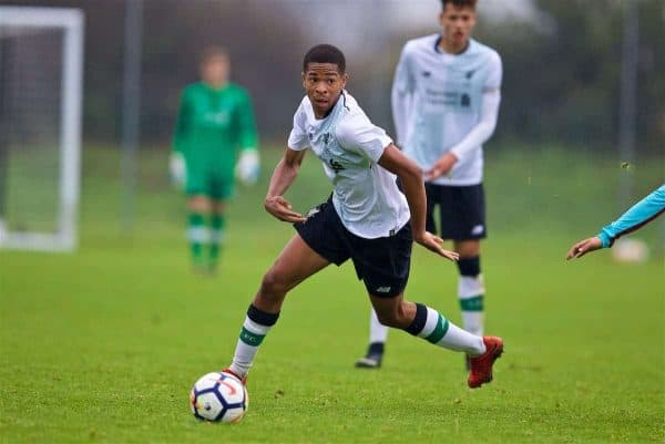 LONDON, ENGLAND - Saturday, November 4, 2017: Liverpool's Elijah Dixon-Bonner during the Under-18 Premier League Cup Group D match between West Ham United FC and Liverpool FC at Little Heath. (Pic by David Rawcliffe/Propaganda)