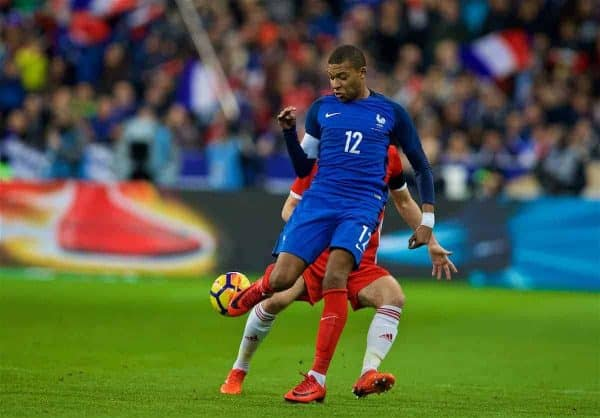 PARIS, FRANCE - Friday, November 10, 2017: France's Kylian Mbappé during the international friendly match between France and Wales at the Stade de France. (Pic by David Rawcliffe/Propaganda)