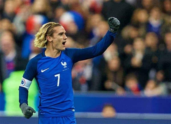 PARIS, FRANCE - Friday, November 10, 2017: France's Antoine Griezmann celebrates scoring the first goal during the international friendly match between France and Wales at the Stade de France. (Pic by David Rawcliffe/Propaganda)