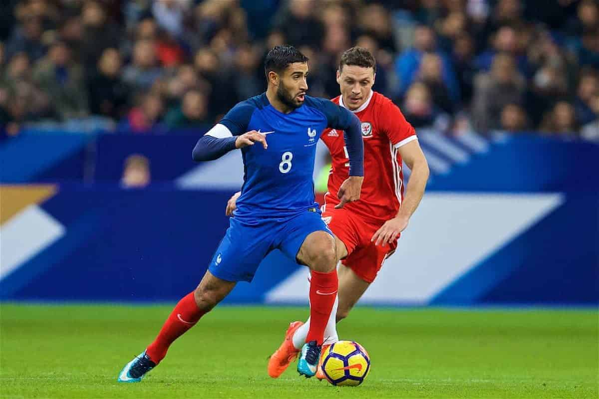PARIS, FRANCE - Friday, November 10, 2017: Wales' James Chester and France's Nabil Fekir during the international friendly match between France and Wales at the Stade de France. (Pic by David Rawcliffe/Propaganda)
