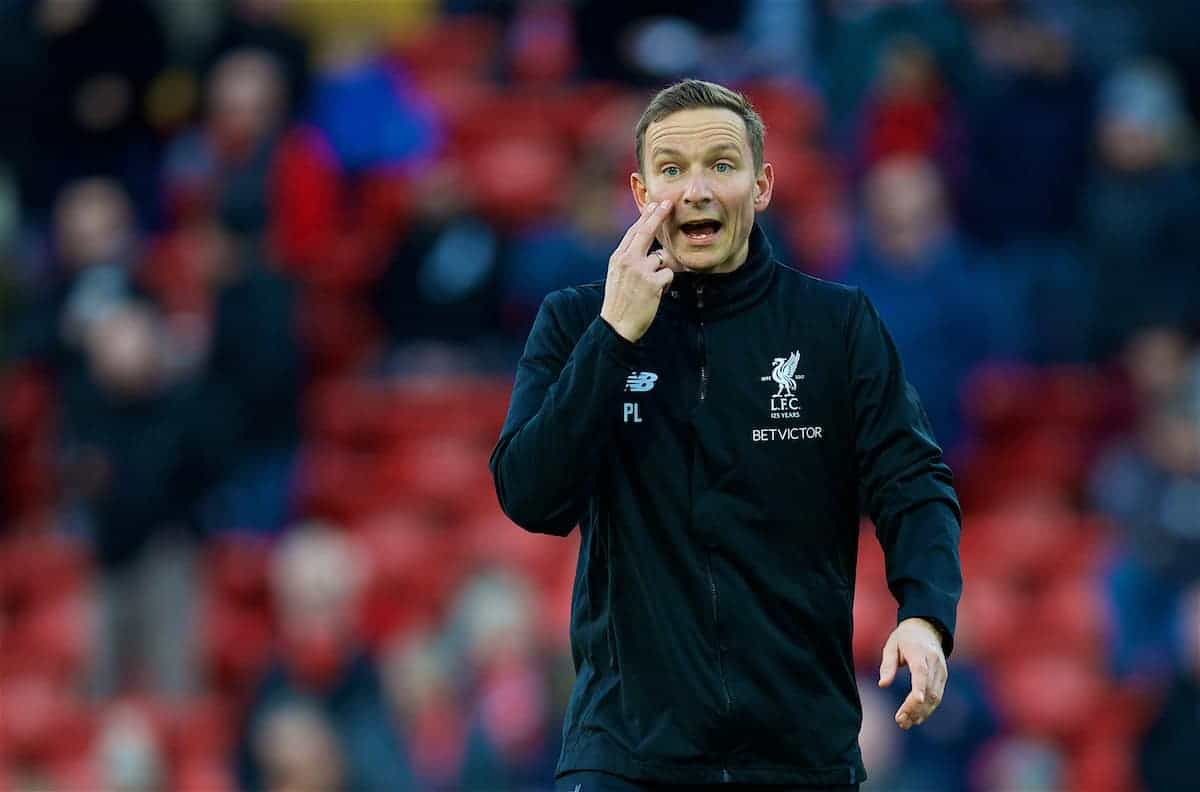 LIVERPOOL, ENGLAND - Saturday, October 28, 2017: Liverpool's first-team development coach Pepijn Lijnders during the pre-match warm-up before the FA Premier League match between Liverpool and Southampton at Anfield. (Pic by David Rawcliffe/Propaganda)