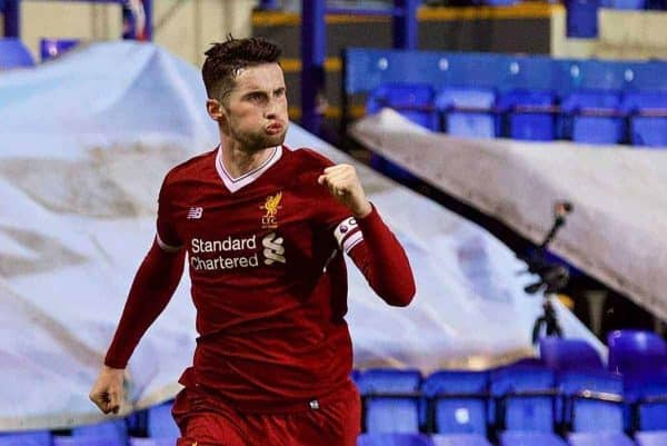 BIRKENHEAD, ENGLAND - Saturday, November 18, 2017: Liverpool's captain Corey Whelan celebrates scoring the second goal during the Under-23 FA Premier League 2 Division 1 match between Liverpool and Everton at Prenton Park. (Pic by David Rawcliffe/Propaganda)