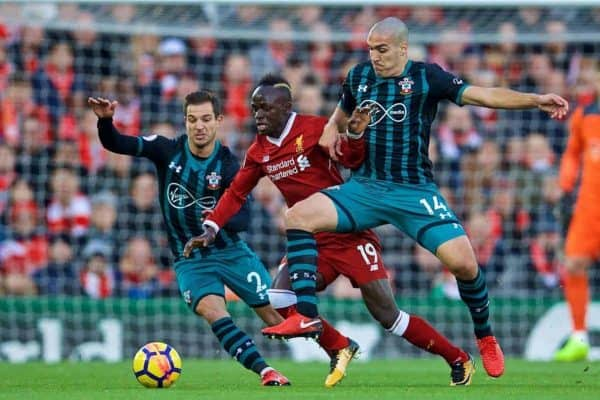 LIVERPOOL, ENGLAND - Saturday, October 28, 2017: Liverpool's Sadio Mane is challenged by Southampton's Cedric Soares and Oriol Romeu during the FA Premier League match between Liverpool and Southampton at Anfield. (Pic by David Rawcliffe/Propaganda)