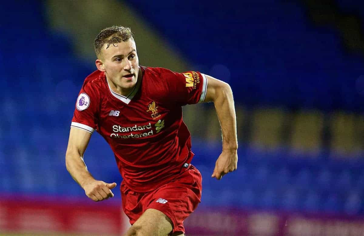 BIRKENHEAD, ENGLAND - Saturday, November 18, 2017: Liverpool's Herbie Kane during the Under-23 FA Premier League 2 Division 1 match between Liverpool and Everton at Prenton Park. (Pic by David Rawcliffe/Propaganda)