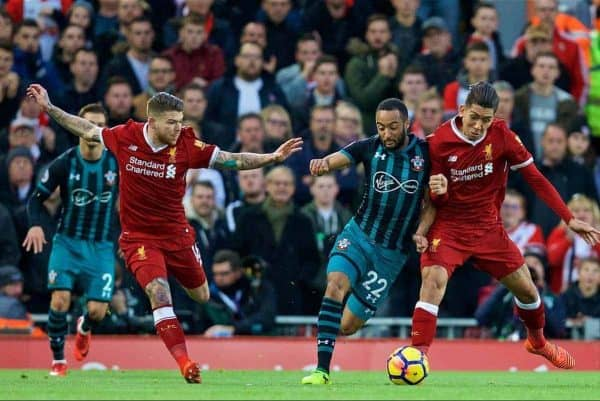 LIVERPOOL, ENGLAND - Saturday, October 28, 2017: Liverpool's Alberto Moreno and Roberto Firmino challenge Southampton's Nathan Redmond during the FA Premier League match between Liverpool and Southampton at Anfield. (Pic by David Rawcliffe/Propaganda)