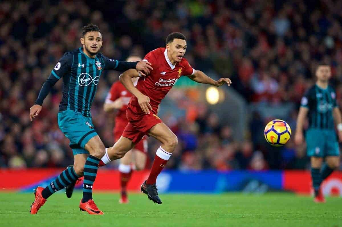 LIVERPOOL, ENGLAND - Saturday, October 28, 2017: Liverpool's Trent Alexander-Arnold during the FA Premier League match between Liverpool and Southampton at Anfield. (Pic by David Rawcliffe/Propaganda)