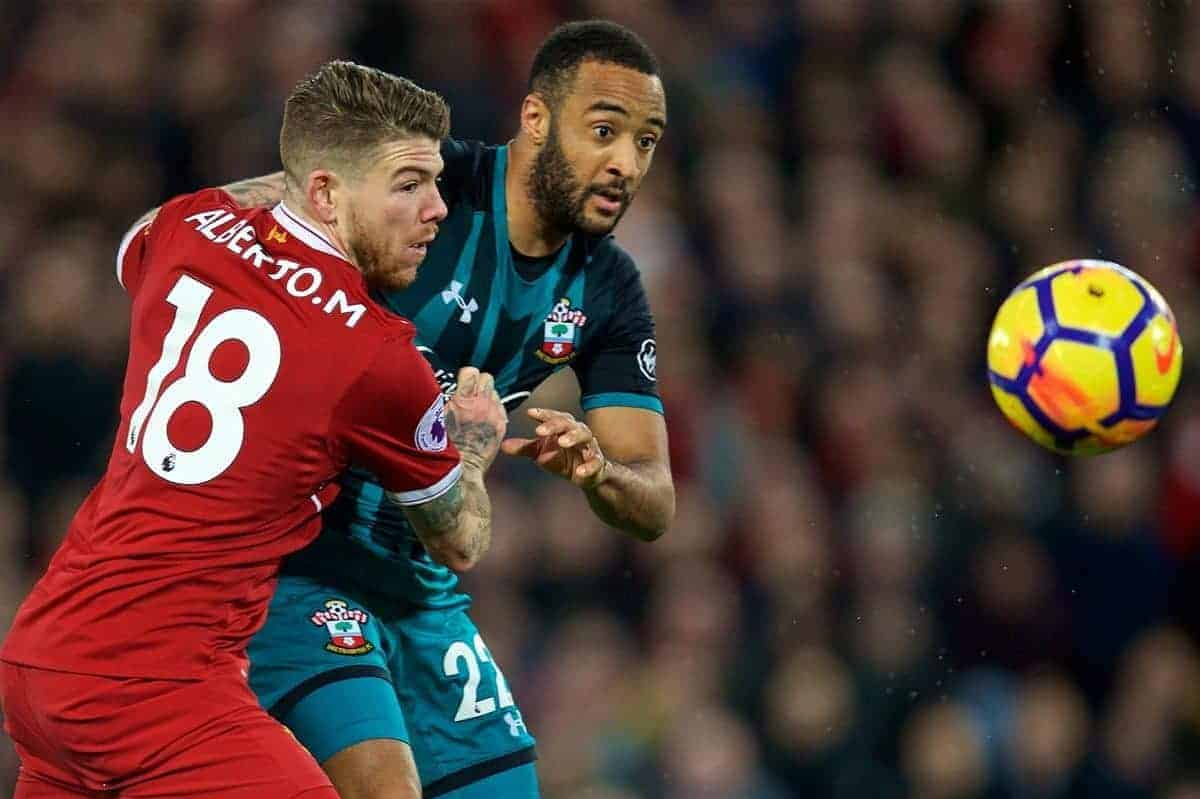LIVERPOOL, ENGLAND - Saturday, October 28, 2017: Liverpool's Alberto Moreno and Southampton's Nathan Redmond during the FA Premier League match between Liverpool and Southampton at Anfield. (Pic by David Rawcliffe/Propaganda)