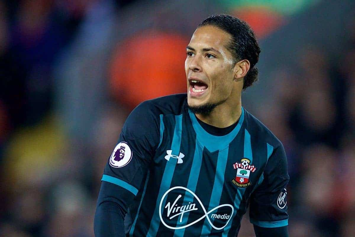 LIVERPOOL, ENGLAND - Saturday, October 28, 2017: Southampton's Virgil Van Dijk during the FA Premier League match between Liverpool and Southampton at Anfield. (Pic by David Rawcliffe/Propaganda)