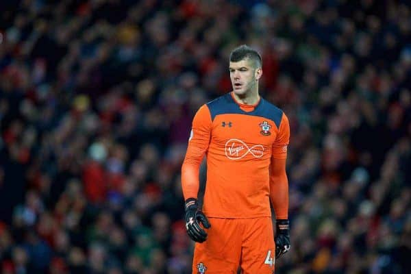 LIVERPOOL, ENGLAND - Saturday, October 28, 2017: Southampton's goalkeeper Fraser Forster during the FA Premier League match between Liverpool and Southampton at Anfield. (Pic by David Rawcliffe/Propaganda)