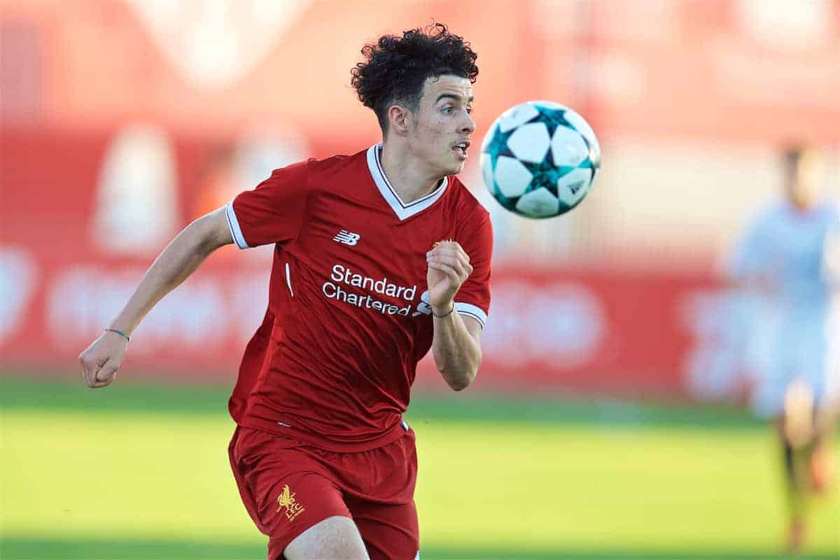 SEVILLE, SPAIN - Tuesday, November 21, 2017: Liverpool's Curtis Jones during the UEFA Youth League Group E match between Sevilla FC and Liverpool FC at the Ciudad Deportiva Jose Ramon Cisneros. (Pic by David Rawcliffe/Propaganda)